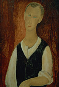 Portraits Paintings - Young Man with a Black Waistcoat by Amedeo Modigliani