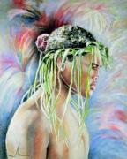 Maori Paintings - Young Maori Warrior by Miki De Goodaboom