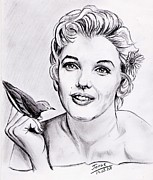 Pencils Prints - Young Marilyn Monroe Print by Joane Severin