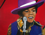 Famous Faces Painting Originals - Young Michael Jackson Singing by Chelle Brantley