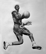 Michael Jordan Drawings - Young MJ by Adam Barone