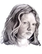 Graphite Portrait Drawings Prints - Young Mona Lisa Print by Murphy Elliott