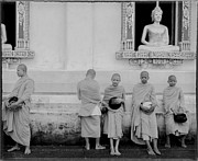 Black And White Religious Art Framed Prints - Young monks at old temple Framed Print by Setsiri Silapasuwanchai