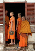 Alms Framed Prints - Young Monks Laos 2 Framed Print by Bob Christopher