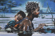 Braids Pastels Prints - Young Mother and Child Print by Andre Ajibade