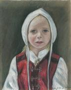 Norway Drawings Prints - Young Norwegian Girl            Print by Linda Nielsen