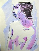 Contemplative Paintings - Young Nude Female Girl Sitting in Contemplation Introspective or Watercolor on textured paper by M Zimmerman