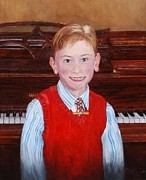 Mahogany Red Painting Prints - Young Piano Student Print by Phyllis Barrett