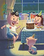 Party Birthday Party Digital Art Prints - Young Pig Birthday Party Print by Martin Davey