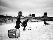 Ice Hockey Framed Prints - Young Russians Playing Hockey Framed Print by Everett