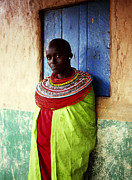 Woman Of Color Posters - Young Samburu Woman Outside Shop Poster by Harry Hook