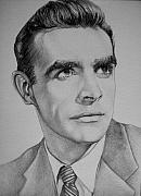 Celebrity Drawing Drawings Prints - Young Sean Connery Print by Jeffrey Samuels