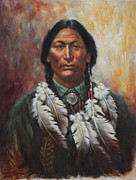Feathers Painting Prints - Young Sittingbull Print by Harvie Brown