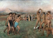 Sport Oil Paintings - Young Spartans Exercising by Edgar Degas