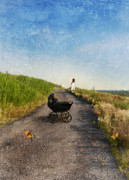 Dirt Road Posters - Young Woman and Baby Buggy on Dirt Road  Poster by Jill Battaglia