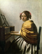 Young Woman Posters - Young Woman at a Virginal Poster by Jan Vermeer