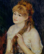 Dark Background Prints - Young Woman Braiding her Hair Print by Pierre Auguste Renoir