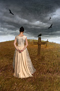 Stormy Skies Acrylic Prints - Young Woman Grieving by Grave Acrylic Print by Jill Battaglia