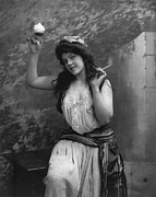 1900s Portraits Photos - Young Woman Holding Cigarette by Everett
