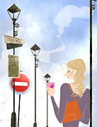Long Street Digital Art Posters - Young Woman Holding Takeaway Coffee Poster by Eastnine Inc.