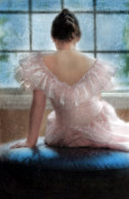 Period Clothing Prints - Young Woman in Pink Ruffled Dress Print by Jill Battaglia