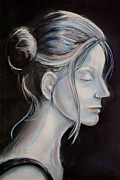 Drawn Pastels Prints - Young Woman in Profile-Quick Self Study Print by AE Hansen