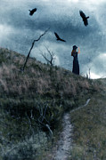 Circling Framed Prints - Young Woman on Creepy Path with Black Birds Overhead Framed Print by Jill Battaglia