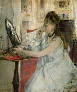 Earring Painting Framed Prints - Young Woman Powdering her Face Framed Print by Berthe Morisot