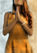 Praying Hands Posters - Young Woman Praying Poster by Jill Battaglia