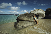Virgin Gorda Island Art - Young Woman Resting Against A Rock by Bill Curtsinger