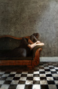 Upset Prints - Young Woman Resting on a Victorian Sofa Print by Jill Battaglia
