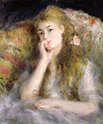 Long Blonde Hair Framed Prints - Young Woman Seated Framed Print by Pierre Auguste Renoir