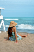 Sundress Prints - Young Woman Sitting on a Beach Print by Jill Battaglia