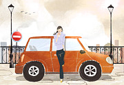 Coffee Drinking Digital Art Prints - Young Woman Standing In Front Of Car Drinking Takeaway Coffee Print by Eastnine Inc.