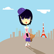 One Person Digital Art Prints - Young Woman Standing In Tokyo Print by Caroline Attia