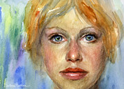 Colorful Photos Prints - Young woman Watercolor portrait painting Print by Svetlana Novikova