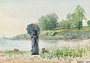 Walking The Dog Posters - Young Woman Poster by Winslow Homer