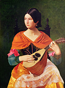 Brunette Painting Prints - Young Woman with a Mandolin Print by Vekoslav Karas