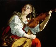 Music Tapestries Textiles Metal Prints - Young Woman with a Violin Metal Print by Orazio Gentileschi