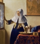 Window Interior Posters - Young Woman with a Water Jug Poster by Jan Vermeer