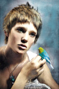 Parakeet Acrylic Prints - Young Woman With Bird Acrylic Print by Jane Schnetlage