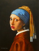 Jan Vermeer Prints - Young woman with pearl earring Print by Hugo Palomares