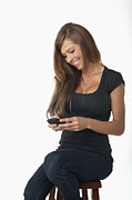 Texting Photo Prints - Young Woman With Smartphone Print by Andre Babiak