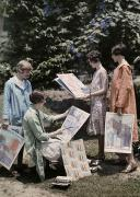 Young Women From Newcomb College Gather Print by Edwin L. Wisherd