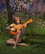 Lute Digital Art - Young women playing the lute by John Junek