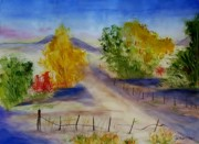 Country Dirt Roads Painting Posters - Youngs Farm Poster by Jamie Frier