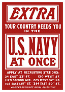 World War 2 Mixed Media Metal Prints - Your Country Needs You In The US Navy Metal Print by War Is Hell Store