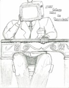 Black Tie Drawings - yOur Future Will Be Televised by Devrryn Jenkins