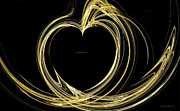 Abstract Hearts Digital Art Prints - Your Golden Heart Print by Wayne Bonney