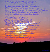 Sunset Posters Mixed Media Posters - Your Loving Eyes 2 Poster by Debra     Vatalaro